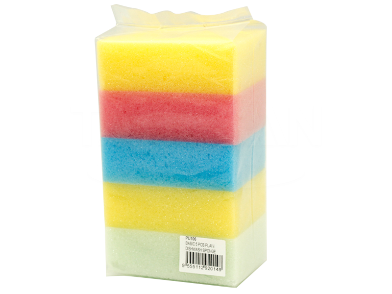 Basic 5 Pcs Plain Dishwash Sponge